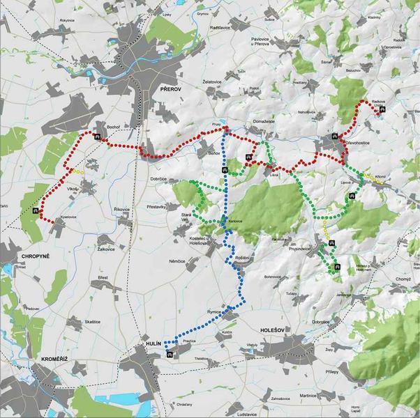 mapka trasy s barevným označením úseků, 602x600, 80.54 KB